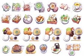 Menu illustration 『焼鶏あきら』『神戸•六甲道ぎゅんた』『おでん かしみん』